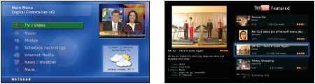 Широкоэкранные меню: основной экран пользователя Netgear (слева); интерфейс сервиса YouTube в системе Apple TV