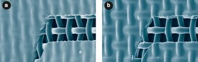 Рис. 2. Трафаретная ткань Saatilene Hitech 90(230).40: а) трафарет высушен печатной стороной вниз, значение Rz 9,8 мкм; b) трафарет высушен печатной стороной вверх, значение Rz 14,0 мкм