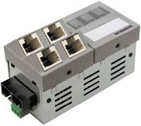Рисунок 1. Инсталляционный микрокоммутатор с портом для каскадирования 1000BaseX и четырьмя портами 10/100/1000BaseT.