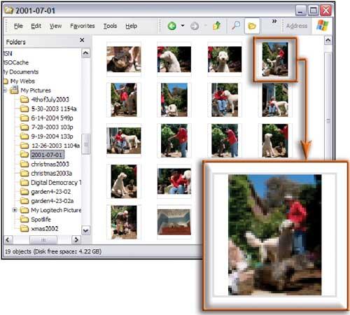 Рис. 3. Скрыв имена файлов в папке, отображающей эскизы страниц, вы увидите больше картинок