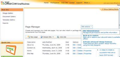 Экран 16. Страница управления контентом сайта