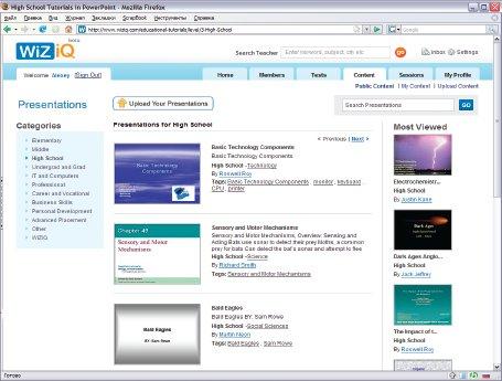 Сервис WiZiQ специализируется в основном на образовательном контенте