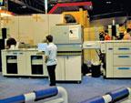 Одна из пяти цифровых печатных машин HP Indigo press 5000 на стенде Hewlett-Packard, в тематической зоне реалистической фотопечати
