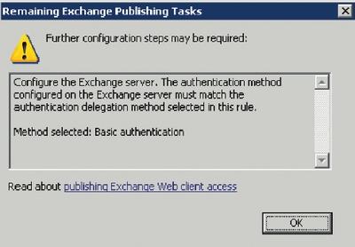 Экран 5. Напоминание ISA Server о необходимости назначить проверку подлинности сервера Exchange