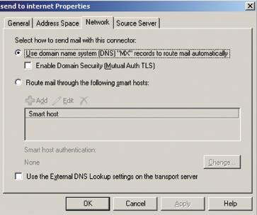 Экран 1. Определение метода разрешения имен для вновь созданного коннектора Send SMTP