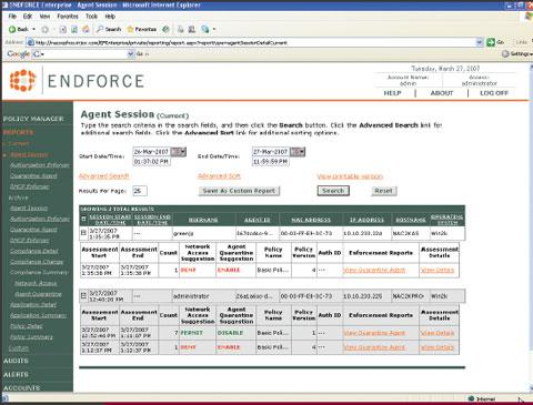 Экран 1. EndForce Enterprise показывает состояние установленных агентов
