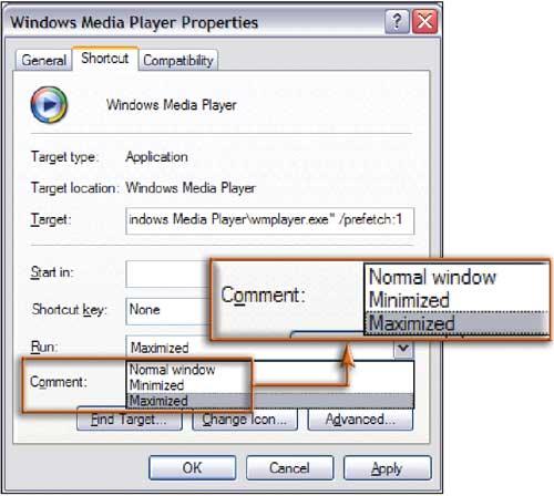 Рис. 1. Чтобы приложение сразу же раскрывалось во весь экран, выберите соответствующую опцию в окне свойств его ярлыка