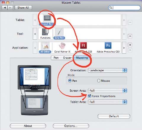 Рис. 2. Мэппинг для Wacom Intuos3 — приведение пропорций монитора к пропорциям графического планшета