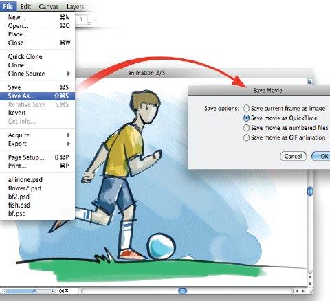 Рис. 4. Экспорт анимационного фрагмента в любой из предлагаемых форматов