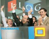 Пьер Харен ударом вколокол NASDAQ возвещает одвадцатилетии ILOG (май 2007 года)