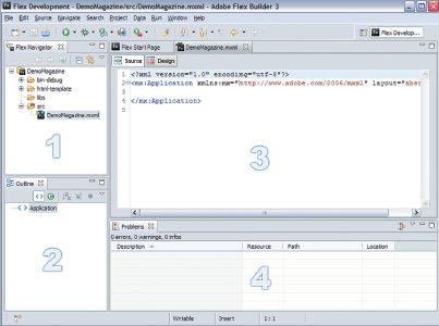 Вид Flex Builder сразу после создания нового приложения