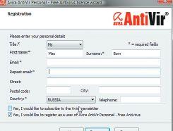 Регистрация, необходимая для работы с Avira AntiVir