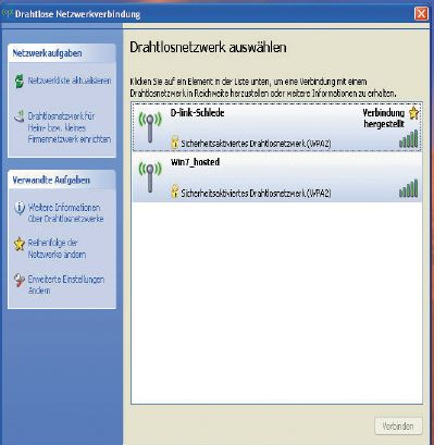 Рисунок 4. Взгляд с клиента XP: сетевые соединения, знакомые пользователям беспроводных сетей и простые в эксплуатации.