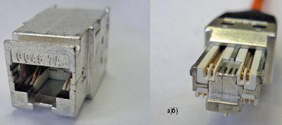 Рисунок 4. Соединитель GG45 7A Nexans: а) гнездовая часть; б) разъем.
