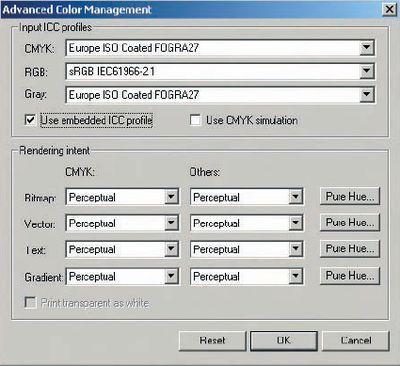 Рис. 2. Окно Advanced Color Management (растровый процессор PhotoPrint), несмотря на название, содержит базовые и необходимейшие настройки системы управления цветом: цветовые профили имитируемых устройств (Input ICC Profiles) и методы преобразования цвета (Rendering Intent) для различных объектов