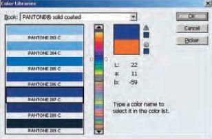 Рис. 4. С помощью Adobe Photoshop узнаем, что Pantone 287 C — это цвет со значениям L = 22; a = 11; b = -59