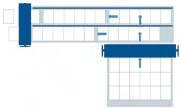 Пневматическая система подачи продукта в два потока во 2-й секции позволяет параллельно выравнивать сфальцованный лист по двум линейкам и транспортировать далее в машину. Скорость 2-й секции снижается вдвое без уменьшения производительности