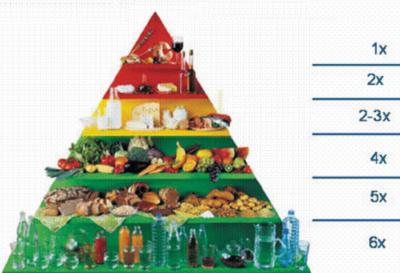 Рис. 3. Пирамида питания, число порций в день