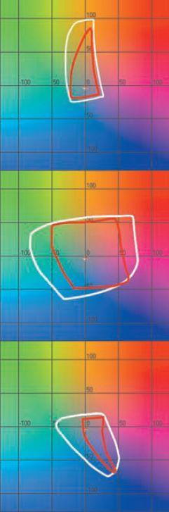 Как и ожидалось, преимущество принтера (белая линия) над мини-лабом (красная линия) по цветовому охвату оказалось подавляющим