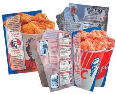 Высокоскоростная контурная высечка в линию для газеты KFC, выполненная наоборудовании Scheffer. Вложения часто рассылаются во все домашние хозяйстварегиона: с помощью местных газет, а также по почте в дома, где на нихне подписываются