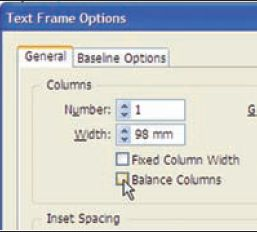 Рис. 8. Выбор опции баланса колонок текста