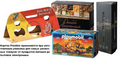 Картон Printline применяется при изготовлении упаковки для самых различных товаров: от продуктов питания до бытовой электроники