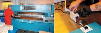 Участок оснащён одноножевой машиной Wohlenberg MCS-2 TV с шириной реза 185 см. Как заявляют в Kodak, она единственная в России. Рядом — измерительный стол и дорогостоящее оборудование для контроля качества резов. На снимке — контроль заусенцов на резе