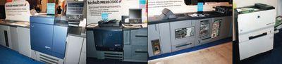 Начало продаж Konica Minolta bizhub PRESS C8000 (слева) запланировано на январь 2011 г. по цене от 135 000 евро. У ЦПМ есть младший брат — 60-страничная C6000 (слева в центре). Справа в центре — желающие могли ознакомиться с особенностями работы послепечатных модулей монохромной bizhub RPO 1051, рассмотреть процесс через специально изготовленные дверцы с окошками. А цветной 25-страничный magicolor 7450II GA (справа) уже хорошо известен в России