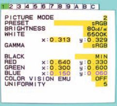Цветовые координаты точки белого или первичных цветов изменяются в расширенном экранном меню