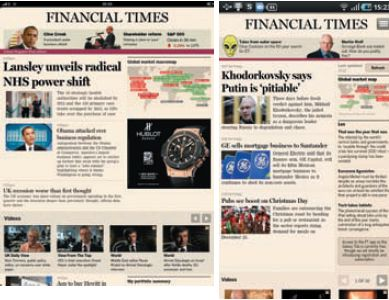 Первая полоса The Financial Times, как она выглядит на iPad (слева) и на Samsung Galaxy Tab