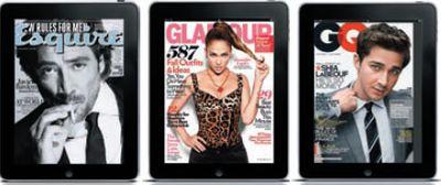 Так смотрятся на экране iPad обложки журналов (слева направо) Esquire, Glamour и GQ