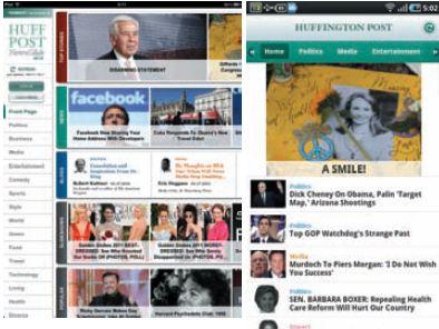 Бесплатное издание, которое читают: заглавные страницы приложений The Haffington Post для iPad (слева) и Android