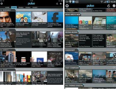 Окно агрегатора Pulse на iPad (слева) и Galaxy Tab: все новости на одном экране — совершенно бесплатно!