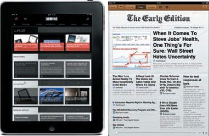Агрегаторы на iPad: окно приложения FLUD (слева) — ну очень похоже на Pulse… А заглавная страница The Early Edition больше напоминает Flipboard