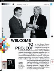 Страница первого номера iPad-журнала Project