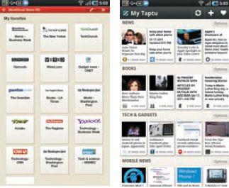На Android-планшетах всё попроще: окна агрегаторов MoreGood-NewsHD (слева) и MyTaptu на экране Galaxy Tab