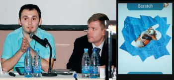 Т. Алейников (слева, рядом М. Шубин) провёл технологическую презентацию HTML Stacker и поразил собравшихся лёгкостью создания эффектов. Например, Scratch (на правом фото) позволяет реализовать на экране стирание скрэтч-панели