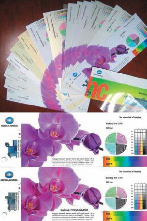 Изготовленный на C70hc веер демонстрирует печать на разнообразных видах бумаги из дизайнерских коллекций и картонах. Кроме этого, в нём для сравнения есть образцы, напечатанные на одинаковой бумаге, но на разных принтерах: C70hc и С6000. К сожалению, триадная журнальная печать не может передать, насколько первый отпечаток ярче второго