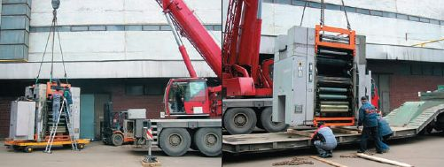 Для погрузки на транспорт использовались специальные прицепы-тележки грузоподъёмностью 40 т и мощный подъёмный кран