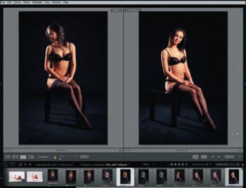Синхронный просмотр двух снимков в модуле Library позволяет сравнить их в деталях