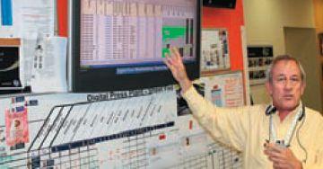 Директор завода объясняет, как формируется производственный план. Он отображается на большом экране, ниже рабочие отмечают выполнение каждого производственного этапа на пластиковой доске