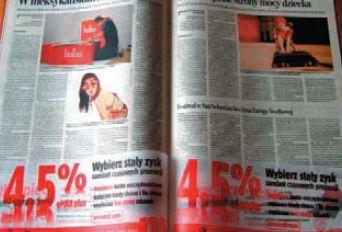 Рекламное вложение на скрепке в польской газете отпечатано на кальке — такой