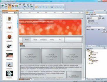 Фрагмент главной страницы сайта со вспомогательными панелями Corel Website Creator X6