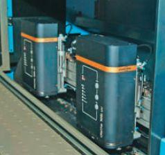 Секция струйной печати на КВА Rapida 105 — Delta 105i UV systems. Как и многие другие системы на выставке, оборудована головками Atlantic Zeiser
