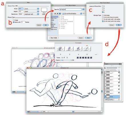 Рис. 3. Создаем motion-файл:a — создание нового файла; b — предполагаемое количество кадров анимации; c — число видимых кадров в меню предпросмотра; d — меню Frame stacks (массивы кадров)