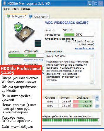 HDDlife использует технологию S.M.A.R.T., считывая технические параметры жесткого диска и представляя результат в упрощенной форме