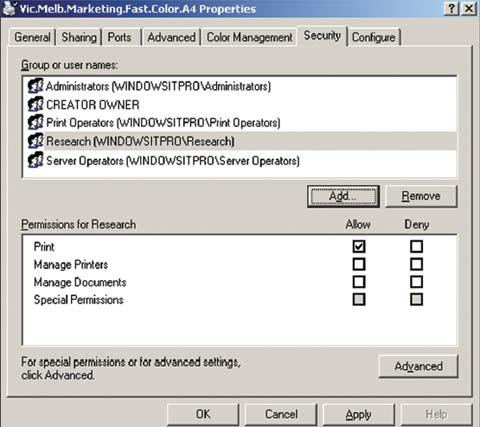 Экран 3. Разрешения для печати на общем принтере