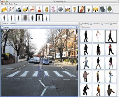 Презентация  Photo Clip Art была посвящена созданию глобальной базы данных подборок фотографий, которые широко используются цифровыми художниками. При создании изображений, вкоторых большое значение имеет точный масштаб (например, если на фотографии присутствуют люди), программное обеспечение помогает определить нужные размеры взависимости от того, вкаком месте трехмерного фона выполняется вставка фрагмента сфигурой человека