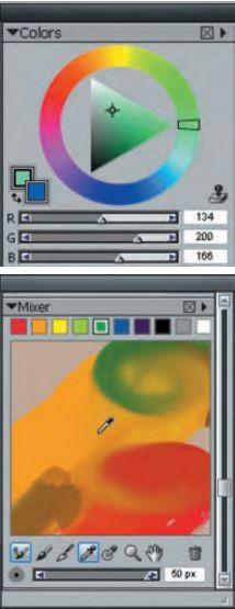 Цветовая палитра заслуживает особого внимания, поскольку содержит не только стандартную подборку цвета, но и возможность цвета смешивать, как художники на настоящей палитре