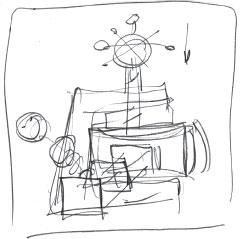 Рис. 1. Так выглядит эскиз, на котором в одном кадре нарисована вся анимационная сцена. Это необходимо, чтобы ясно представлять себе, сколько каких элементов предстоит нарисовать